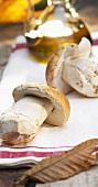 Porcini mushrooms on a tea towel