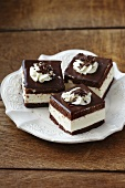 Chocolate sponge slices filled with cream