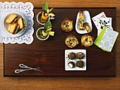 Various cheese canapes (seen from above)