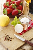 Ingredients for strawberry chutney