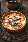 Kwasnica (sauerkraut soup, Poland) with pork ribs