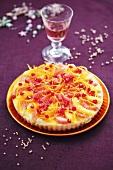 Citrus fruit tart with pomegranate seeds for Christmas dinner