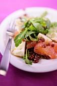Lentil and rocket salad with grapefruit and goat's milk gouda