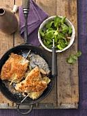 Turkey cordon bleu with lambs lettuce