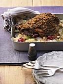 Putenkeule mit Sauerkraut und Trauben