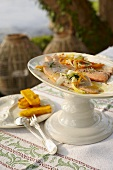 Marinated salmon trout with julienned vegetables (Italy)