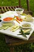 Pinzimonio (raw vegetables with various dips, Italy)
