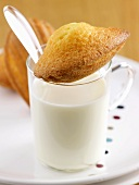 A madeleine on a glass of milk