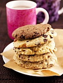 A stack of cookies on baking paper