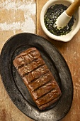 Grilled beef steak with salsa verde