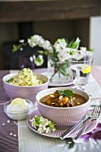 Lamb ragout with apricots and slivered almonds (North Africa)