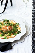 Apple carpaccio with scallops, lamb's lettuce and mustard dressing (Christmas)