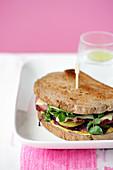A Reuben sandwich (corned beef sandwich, USA)