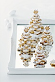 Almond Christmas trees with icing and icing sugar