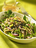 Soba noodle salad with soya beans (Asia)
