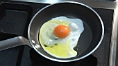 Frying an egg in a frying pan
