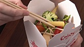 Asian lunch box containing vegetables