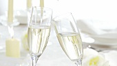Clinking glasses of sparkling wine