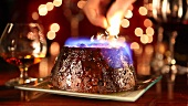 Flambéing a Christmas pudding