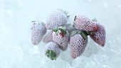 Frozen strawberries rotating