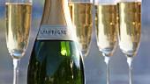 Champagnerflasche und Champagnergläser (Ausschnitt)