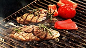 Lamb with red pepper and tomato on a barbecue