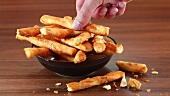 Crispy cheese sticks in a dish