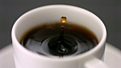 Drop of coffee falling into a cup of coffee