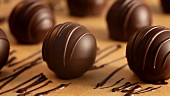 Chocolate truffles decorated with chocolate