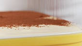 Preparing tiramisu: dusting with cocoa powder