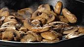 Champignons in der Pfanne braten