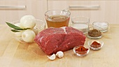 Ingredients for goulash: shoulder of beef, onion, garlic and spices
