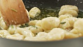 Gnocci and sage butter in a pan