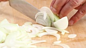 Onions being sliced