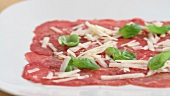 Carpaccio (beef with parmesan and basil, Italy)