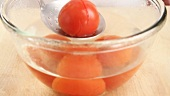 Tomatoes being removed from a bowl of hot water