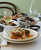 Chicken breast with lemon and tarragon stuffing and side dishes