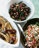 Fennel with red onions, beetroot salad and rice salad