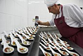 Preparing canapés, Anchovies, Divinus Catering, San Sebastian, Donostia, Gipuzkoa, Euskadi, Spain