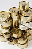 Stacked food tins