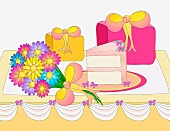 Cake, flowers and gifts for party (Illustration)