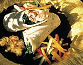 Rolled and Filled Flour Tortilla with Veggies