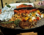 Lobster; Steak; Chicken and Vegetables on the Grille