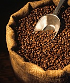 Burlap Coffee Bean Bag with Scoop