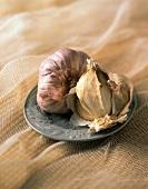 Garlic Bulbs on a Plate