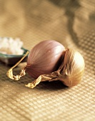 A Red Onion and a Shallot on a Cloth