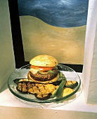 Burger with Chili Peppers and Grilled Vegetables