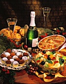 Assorted Christmas Dishes with Champagne