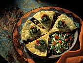 Vegetable Quesadilla with Shredded Lettuce