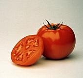Whole Tomato with Stem; Tomato Half